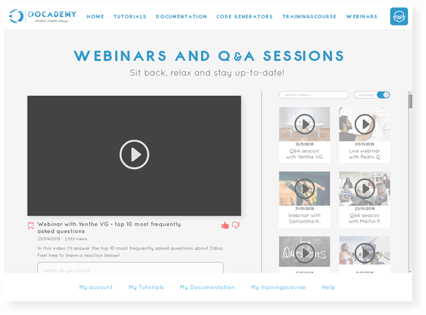 Example screen webinars page